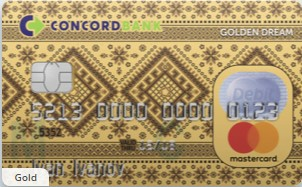 Банк Конкорд – Картка «Golden Dream» MasterCard Gold гривні