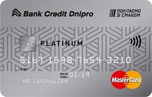 Банк Кредит Днепр — Карта «Platinum» MasterCard мультивалютная