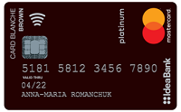 IdeaBank – Карта « Card Blanche Debit Brown Travel» Mastercard Platinum гривны